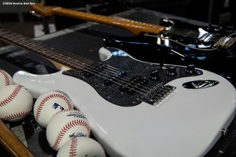 May 27, 2020, Boston, MA: Baseballs and guitars are displayed during the Streaming Outta Fenway Presented By Pega free livestream performance with no live audience as the Major League Baseball season is postponed due to the coronavirus pandemic at Fenway Park in Boston, Massachusetts Wednesday, May 27, 2020. (Photo by Billie Weiss/Pega)