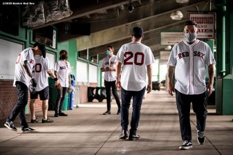 May 28, 2020, Boston, MA: Members of the Dropkick Murphys hang out backstage during the Streaming Outta Fenway Presented By Pega free livestream performance with no live audience as the Major League Baseball season is postponed due to the coronavirus pandemic at Fenway Park in Boston, Massachusetts Thursday, May 28, 2020. (Photo by Billie Weiss/Pega)