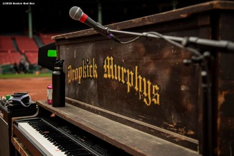May 28, 2020, Boston, MA: A piano is shown as the Dropkick Murphys rehearse during the Streaming Outta Fenway Presented By Pega free livestream performance with no live audience as the Major League Baseball season is postponed due to the coronavirus pandemic at Fenway Park in Boston, Massachusetts Thursday, May 28, 2020. (Photo by Billie Weiss/Pega)