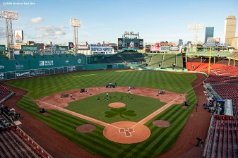 May 28, 2020, Boston, MA: Pega signage is displayed as the Dropkick Murphys perform during the Streaming Outta Fenway Presented By Pega free livestream performance with no live audience as the Major League Baseball season is postponed due to the coronavirus pandemic at Fenway Park in Boston, Massachusetts Thursday, May 28, 2020. (Photo by Billie Weiss/Pega)