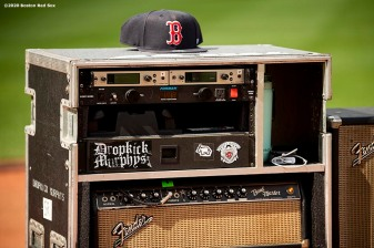 May 29, 2020, Boston, MA: A speaker and Boston Red Sox hat are shown as Dropkick Murphys rehearse during the Streaming Outta Fenway Presented By Pega free livestream performance with no live audience as the Major League Baseball season is postponed due to the coronavirus pandemic at Fenway Park in Boston, Massachusetts Friday, May 29, 2020. (Photo by Billie Weiss/Pega)