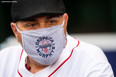 May 29, 2020, Boston, MA: Members of the Dropkick Murphys wait in the dugout during the Streaming Outta Fenway Presented By Pega free livestream performance with no live audience as the Major League Baseball season is postponed due to the coronavirus pandemic at Fenway Park in Boston, Massachusetts Friday, May 29, 2020. (Photo by Billie Weiss/Pega)