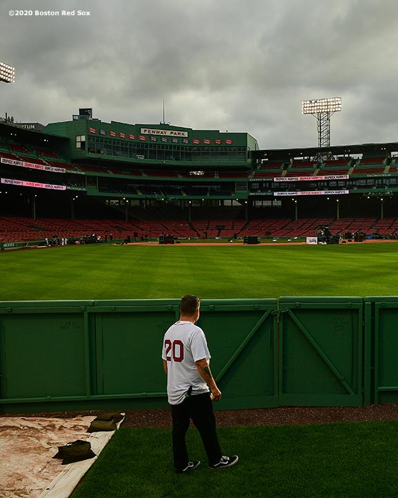 May 29, 2020, Boston, MA: Ken Casey of the Dropkick Murphys waits in the bullpen during the Streaming Outta Fenway Presented By Pega free livestream performance with no live audience as the Major League Baseball season is postponed due to the coronavirus pandemic at Fenway Park in Boston, Massachusetts Friday, May 29, 2020. (Photo by Billie Weiss/Pega)