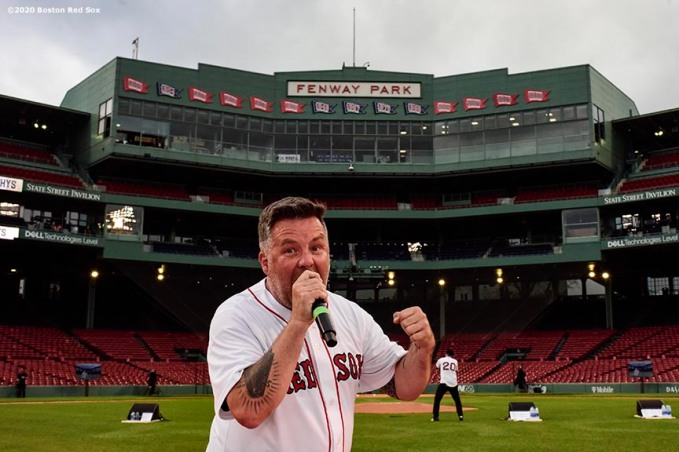 May 29, 2020, Boston, MA: The Dropkick Murphys perform during the Streaming Outta Fenway Presented By Pega free livestream performance with no live audience as the Major League Baseball season is postponed due to the coronavirus pandemic at Fenway Park in Boston, Massachusetts Friday, May 29, 2020. (Photo by Billie Weiss/Pega)
