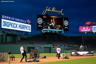 May 29, 2020, Boston, MA: Bruce Springsteen performs on the video board as the Dropkick Murphys perform during the Streaming Outta Fenway Presented By Pega free livestream performance with no live audience as the Major League Baseball season is postponed due to the coronavirus pandemic at Fenway Park in Boston, Massachusetts Friday, May 29, 2020. (Photo by Billie Weiss/Pega)