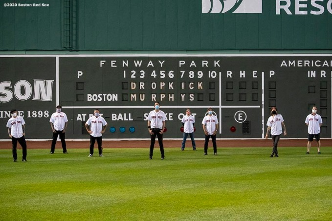 May 29, 2020, Boston, MA: The Dropkick Murphys pose for a socially distanced group photo after performing during the Streaming Outta Fenway Presented By Pega free livestream performance with no live audience as the Major League Baseball season is postponed due to the coronavirus pandemic at Fenway Park in Boston, Massachusetts Friday, May 29, 2020. (Photo by Billie Weiss/Pega)