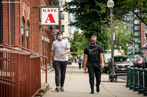 BOSTON, MA - JULY 1: Colten Brewer #54 and Ryan Brasier #70 of the Boston Red Sox arrive in advance of a training period before the start of the 2020 Major League Baseball season on July 1, 2020 at Fenway Park in Boston, Massachusetts. The season was delayed due to the coronavirus pandemic. (Photo by Billie Weiss/Boston Red Sox/Getty Images) *** Local Caption *** Colten Brewer; Ryan Brasier