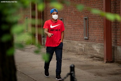 BOSTON, MA - JULY 1: Tzu-Wei LIn #30 of the Boston Red Sox arrives in advance of a training period before the start of the 2020 Major League Baseball season on July 1, 2020 at Fenway Park in Boston, Massachusetts. The season was delayed due to the coronavirus pandemic. (Photo by Billie Weiss/Boston Red Sox/Getty Images) *** Local Caption *** Tzu-Wei Lin
