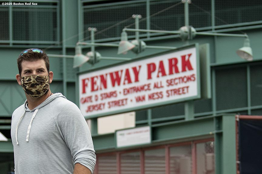 BOSTON, MA - JULY 1: Mitch Moreland #18 of the Boston Red Sox arrives in advance of a training period before the start of the 2020 Major League Baseball season on July 1, 2020 at Fenway Park in Boston, Massachusetts. The season was delayed due to the coronavirus pandemic. (Photo by Billie Weiss/Boston Red Sox/Getty Images) *** Local Caption *** Mitch Moreland