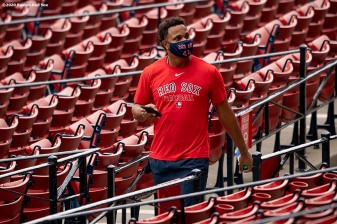 BOSTON, MA - JULY 6: Xander Bogaerts #2 of the Boston Red Sox looks on during a summer camp workout before the start of the 2020 Major League Baseball season on July 6, 2020 at Fenway Park in Boston, Massachusetts. The season was delayed due to the coronavirus pandemic. (Photo by Billie Weiss/Boston Red Sox/Getty Images) *** Local Caption *** Xander Bogaerts