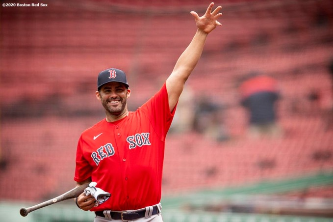 BOSTON, MA - JULY 6: J.D. Martinez #28 of the Boston Red Sox reacts during a summer camp workout before the start of the 2020 Major League Baseball season on July 6, 2020 at Fenway Park in Boston, Massachusetts. The season was delayed due to the coronavirus pandemic. (Photo by Billie Weiss/Boston Red Sox/Getty Images) *** Local Caption *** J.D. Martinez