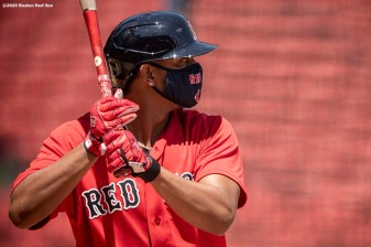 BOSTON, MA - JULY 6: Xander Bogaerts #2 of the Boston Red Sox bats during a summer camp workout before the start of the 2020 Major League Baseball season on July 6, 2020 at Fenway Park in Boston, Massachusetts. The season was delayed due to the coronavirus pandemic. (Photo by Billie Weiss/Boston Red Sox/Getty Images) *** Local Caption *** Xander Bogaerts