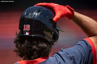 BOSTON, MA - JULY 6: Andrew Benintendi #16 of the Boston Red Sox adjusts his cap during a summer camp workout before the start of the 2020 Major League Baseball season on July 6, 2020 at Fenway Park in Boston, Massachusetts. The season was delayed due to the coronavirus pandemic. (Photo by Billie Weiss/Boston Red Sox/Getty Images) *** Local Caption *** Andrew Benintendi