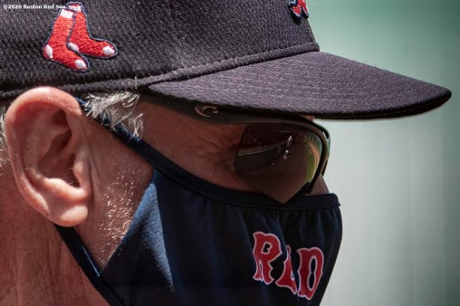 BOSTON, MA - JULY 6: Manager Ron Roenicke of the Boston Red Sox looks on during a summer camp workout before the start of the 2020 Major League Baseball season on July 6, 2020 at Fenway Park in Boston, Massachusetts. The season was delayed due to the coronavirus pandemic. (Photo by Billie Weiss/Boston Red Sox/Getty Images) *** Local Caption *** Ron Roenicke