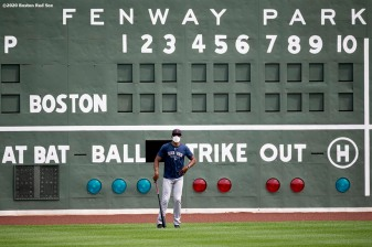BOSTON, MA - JULY 8: First base coach Tom Goodwin of the Boston Red Sox looks on during a summer camp workout before the start of the 2020 Major League Baseball season on July 8, 2020 at Fenway Park in Boston, Massachusetts. The season was delayed due to the coronavirus pandemic. (Photo by Billie Weiss/Boston Red Sox/Getty Images) *** Local Caption *** Tom Goodwin