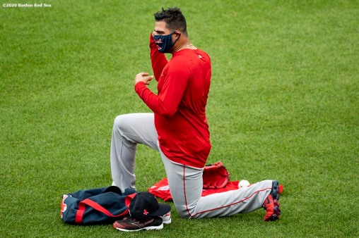 BOSTON, MA - JULY 8: Martin Perez #54 of the Boston Red Sox looks on during a summer camp workout before the start of the 2020 Major League Baseball season on July 8, 2020 at Fenway Park in Boston, Massachusetts. The season was delayed due to the coronavirus pandemic. (Photo by Billie Weiss/Boston Red Sox/Getty Images) *** Local Caption *** Martin Perez