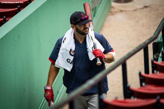 BOSTON, MA - JULY 8: Mitch Moreland #18 of the Boston Red Sox looks on during a summer camp workout before the start of the 2020 Major League Baseball season on July 8, 2020 at Fenway Park in Boston, Massachusetts. The season was delayed due to the coronavirus pandemic. (Photo by Billie Weiss/Boston Red Sox/Getty Images) *** Local Caption *** Mitch Moreland