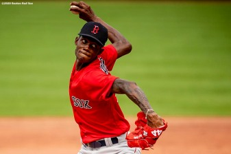 BOSTON, MA - JULY 8: Phillips Valdez #95 of the Boston Red Sox delivers during a summer camp workout before the start of the 2020 Major League Baseball season on July 8, 2020 at Fenway Park in Boston, Massachusetts. The season was delayed due to the coronavirus pandemic. (Photo by Billie Weiss/Boston Red Sox/Getty Images) *** Local Caption *** Phillips Valdez