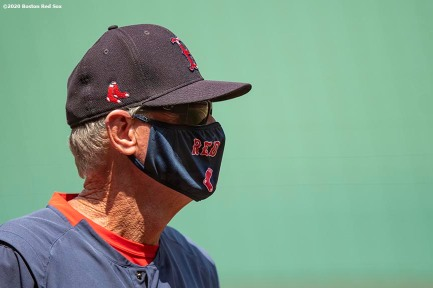 BOSTON, MA - JULY 9: Manager Ron Roenicke of the Boston Red Sox looks on during a summer camp workout before the start of the 2020 Major League Baseball season on July 9, 2020 at Fenway Park in Boston, Massachusetts. The season was delayed due to the coronavirus pandemic. (Photo by Billie Weiss/Boston Red Sox/Getty Images) *** Local Caption *** Ron Roenicke