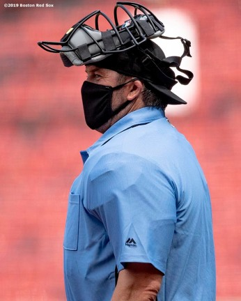 BOSTON, MA - JULY 9: Former catcher Jason Varitek of the Boston Red Sox umpires an inter squad game during a summer camp workout before the start of the 2020 Major League Baseball season on July 9, 2020 at Fenway Park in Boston, Massachusetts. The season was delayed due to the coronavirus pandemic. (Photo by Billie Weiss/Boston Red Sox/Getty Images) *** Local Caption *** Jason Varitek