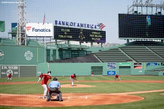 BOSTON, MA - JULY 9: A general view during a Boston Red Sox inter squad game during a summer camp workout before the start of the 2020 Major League Baseball season on July 9, 2020 at Fenway Park in Boston, Massachusetts. The season was delayed due to the coronavirus pandemic. (Photo by Billie Weiss/Boston Red Sox/Getty Images) *** Local Caption ***