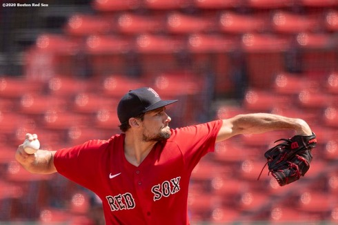 BOSTON, MA - JULY 9: Nathan Eovaldi #17 of the Boston Red Sox delivers during an inter squad game during a summer camp workout before the start of the 2020 Major League Baseball season on July 9, 2020 at Fenway Park in Boston, Massachusetts. The season was delayed due to the coronavirus pandemic. (Photo by Billie Weiss/Boston Red Sox/Getty Images) *** Local Caption *** Nathan Eovaldi