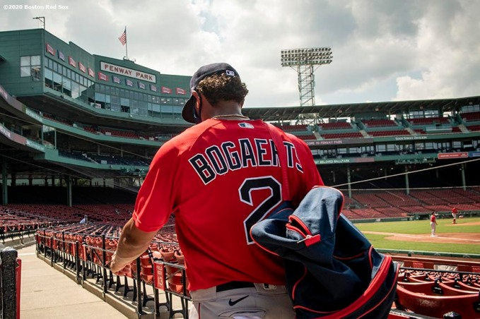 BOSTON, MA - JULY 9: Xander Bogaerts #2 of the Boston Red Sox walks through the seats after an inter squad game during a summer camp workout before the start of the 2020 Major League Baseball season on July 9, 2020 at Fenway Park in Boston, Massachusetts. The season was delayed due to the coronavirus pandemic. (Photo by Billie Weiss/Boston Red Sox/Getty Images) *** Local Caption *** Xander Bogaerts