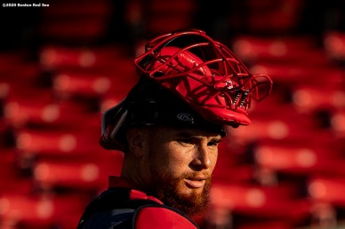 BOSTON, MA - JULY 17: Christian Vazquez #7 of the Boston Red Sox looks on before an intra squad game during a summer camp workout before the start of the 2020 Major League Baseball season on July 17, 2020 at Fenway Park in Boston, Massachusetts. The season was delayed due to the coronavirus pandemic. (Photo by Billie Weiss/Boston Red Sox/Getty Images) *** Local Caption *** Christian Vazquez