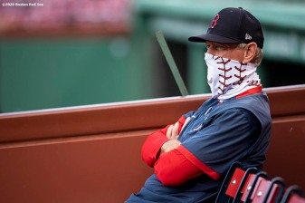 BOSTON, MA - JULY 17: Manager Ron Roenicke of the Boston Red Sox wears a mask as he looks on during an intra squad game during a summer camp workout before the start of the 2020 Major League Baseball season on July 17, 2020 at Fenway Park in Boston, Massachusetts. The season was delayed due to the coronavirus pandemic. (Photo by Billie Weiss/Boston Red Sox/Getty Images) *** Local Caption *** Ron Roenicke
