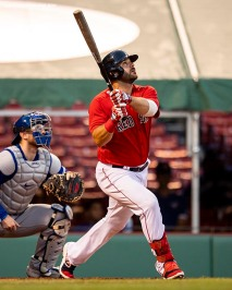 BOSTON, MA - JULY 21: Mitch Moreland #18 of the Boston Red Sox hits a three run home run during the first inning of an exhibition game against the Toronto Blue Jays before the start of the 2020 Major League Baseball season on July 21, 2020 at Fenway Park in Boston, Massachusetts. The season was delayed due to the coronavirus pandemic. (Photo by Billie Weiss/Boston Red Sox/Getty Images) *** Local Caption *** Mitch Moreland