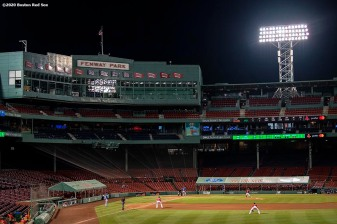 BOSTON, MA - JULY 21: A general view of the auxiliary extended dugout tents during an exhibition game between the Boston Red Sox and the Toronto Blue Jays before the start of the 2020 Major League Baseball season on July 21, 2020 at Fenway Park in Boston, Massachusetts. The season was delayed due to the coronavirus pandemic. (Photo by Billie Weiss/Boston Red Sox/Getty Images) *** Local Caption ***