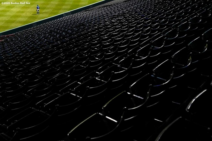 BOSTON, MA - JULY 21: Empty seats are shown during an exhibition game between the Boston Red Sox and the Toronto Blue Jays before the start of the 2020 Major League Baseball season on July 21, 2020 at Fenway Park in Boston, Massachusetts. The season was delayed due to the coronavirus pandemic. (Photo by Billie Weiss/Boston Red Sox/Getty Images) *** Local Caption ***