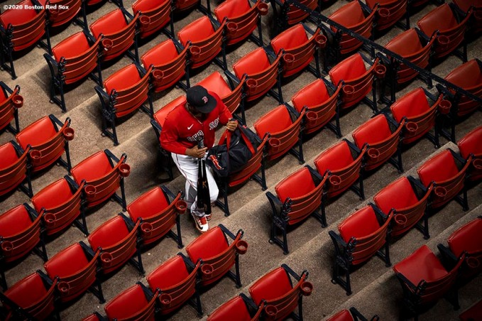 BOSTON, MA - JULY 21: Rafael Devers #11 of the Boston Red Sox walks through the seats during the seventh inning of an exhibition game against the Toronto Blue Jays before the start of the 2020 Major League Baseball season on July 21, 2020 at Fenway Park in Boston, Massachusetts. The season was delayed due to the coronavirus pandemic. (Photo by Billie Weiss/Boston Red Sox/Getty Images) *** Local Caption *** Rafael Devers