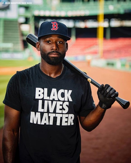 BOSTON, MA - JULY 24: Jackie Bradley Jr. #19 of the Boston Red Sox poses for a portrait as he wears a Black Lives Matter shirt before the Opening Day game against the Baltimore Orioles on July 24, 2020 at Fenway Park in Boston, Massachusetts. The 2020 season had been postponed since March due to the COVID-19 pandemic. (Photo by Billie Weiss/Boston Red Sox/Getty Images) *** Local Caption *** Jackie Bradley Jr.