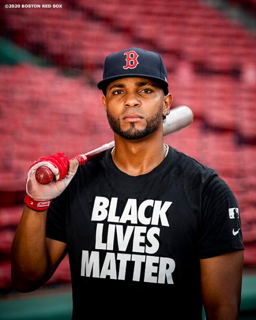 BOSTON, MA - JULY 24: Xander Bogaerts #2 of the Boston Red Sox poses for a portrait as he wears a Black Lives Matter shirt before the Opening Day game against the Baltimore Orioles on July 24, 2020 at Fenway Park in Boston, Massachusetts. The 2020 season had been postponed since March due to the COVID-19 pandemic. (Photo by Billie Weiss/Boston Red Sox/Getty Images) *** Local Caption *** Xander Bogaerts