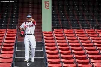 BOSTON, MA - JULY 24: Michael Chavis #23 of the Boston Red Sox reacts before the Opening Day game against the Baltimore Orioles on July 24, 2020 at Fenway Park in Boston, Massachusetts. The 2020 season had been postponed since March due to the COVID-19 pandemic. (Photo by Billie Weiss/Boston Red Sox/Getty Images) *** Local Caption *** Michael Chavis