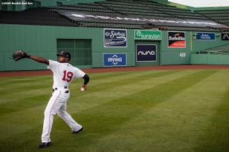 BOSTON, MA - JULY 24: Jackie Bradley Jr. #19 of the Boston Red Sox warms up in front of a Black Lives Matter Tarp during the Opening Day game against the Baltimore Orioles on July 24, 2020 at Fenway Park in Boston, Massachusetts. The 2020 season had been postponed since March due to the COVID-19 pandemic. (Photo by Billie Weiss/Boston Red Sox/Getty Images) *** Local Caption *** Jackie Bradley Jr.