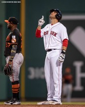 BOSTON, MA - JULY 24: J.D. Martinez #28 of the Boston Red Sox reacts after hitting a double during the Opening Day game against the Baltimore Orioles on July 24, 2020 at Fenway Park in Boston, Massachusetts. The 2020 season had been postponed since March due to the COVID-19 pandemic. (Photo by Billie Weiss/Boston Red Sox/Getty Images) *** Local Caption *** J.D. Martinez