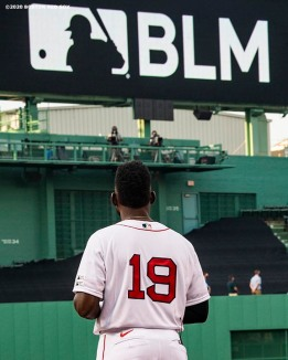 BOSTON, MA - JULY 24: Jackie Bradley Jr. #19 of the Boston Red Sox looks on during a Black Lives Matter and Players Alliance pre-game ceremony before the Opening Day game against the Baltimore Orioles on July 24, 2020 at Fenway Park in Boston, Massachusetts. The 2020 season had been postponed since March due to the COVID-19 pandemic. (Photo by Billie Weiss/Boston Red Sox/Getty Images) *** Local Caption *** Jackie Bradley Jr.