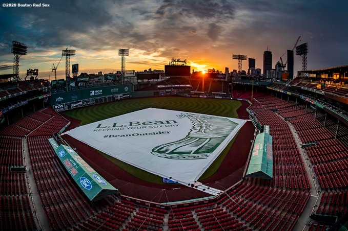 BOSTON, MA - JULY 24: A general view as the sun rises before the Opening Day game between the Boston Red Sox and the Baltimore Orioles on July 24, 2020 at Fenway Park in Boston, Massachusetts. The Major League Baseball season was delayed due to the coronavirus pandemic. (Photo by Billie Weiss/Boston Red Sox/Getty Images) *** Local Caption ***
