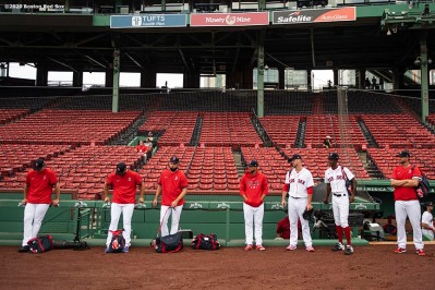 BOSTON, MA - JULY 25: Members of the Boston Red Sox bullpen look on before a game against the Baltimore Orioles on July 25, 2020 at Fenway Park in Boston, Massachusetts. The Major League Baseball season was delayed due to the coronavirus pandemic. (Photo by Billie Weiss/Boston Red Sox/Getty Images) *** Local Caption ***