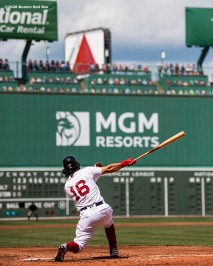 BOSTON, MA - JULY 25: Andrew Benintendi #16 of the Boston Red Sox bats during the third inning of a game against the Baltimore Orioles on July 25, 2020 at Fenway Park in Boston, Massachusetts. The Major League Baseball season was delayed due to the coronavirus pandemic. (Photo by Billie Weiss/Boston Red Sox/Getty Images) *** Local Caption *** Andrew Benintendi
