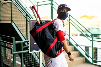 BOSTON, MA - JULY 28: Michael Chavis #23 of the Boston Red Sox walks to the field before a game against the New York Mets on July 28, 2020 at Fenway Park in Boston, Massachusetts. The 2020 season had been postponed since March due to the COVID-19 pandemic. (Photo by Billie Weiss/Boston Red Sox/Getty Images) *** Local Caption *** Michael Chavis