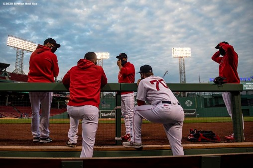 BOSTON, MA - AUGUST 7: Members of the Boston Red Sox bullpen look on before a game against the Toronto Blue Jays on August 7, 2020 at Fenway Park in Boston, Massachusetts. The 2020 season had been postponed since March due to the COVID-19 pandemic. (Photo by Billie Weiss/Boston Red Sox/Getty Images) *** Local Caption ***
