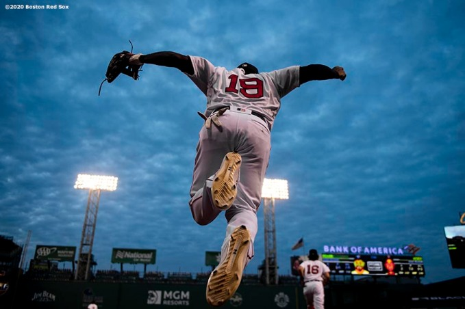 BOSTON, MA - AUGUST 7: Jackie Bradley Jr. #19 of the Boston Red Sox leaps out of the dugout before a game against the Toronto Blue Jays on August 7, 2020 at Fenway Park in Boston, Massachusetts. The 2020 season had been postponed since March due to the COVID-19 pandemic. (Photo by Billie Weiss/Boston Red Sox/Getty Images) *** Local Caption *** Jackie Bradley Jr.
