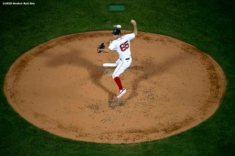 BOSTON, MA - AUGUST 7: Ryan Weber #65 of the Boston Red Sox delivers during the third inning of a game against the Toronto Blue Jays on August 7, 2020 at Fenway Park in Boston, Massachusetts. The 2020 season had been postponed since March due to the COVID-19 pandemic. (Photo by Billie Weiss/Boston Red Sox/Getty Images) *** Local Caption *** Ryan Weber