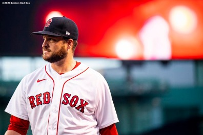 BOSTON, MA - AUGUST 10: Ryan Brasier #70 of the Boston Red Sox looks on before a game against the Tampa Bay Rays on August 10, 2020 at Fenway Park in Boston, Massachusetts. The 2020 season had been postponed since March due to the COVID-19 pandemic. (Photo by Billie Weiss/Boston Red Sox/Getty Images) *** Local Caption *** Ryan Brasier