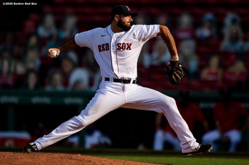 BOSTON, MA - AUGUST 19: Brandon Workman #44 of the Boston Red Sox delivers during the ninth inning of a game against the Philadelphia Phillies on August 19, 2020 at Fenway Park in Boston, Massachusetts. The 2020 season had been postponed since March due to the COVID-19 pandemic. (Photo by Billie Weiss/Boston Red Sox/Getty Images) *** Local Caption *** Brandon Workman