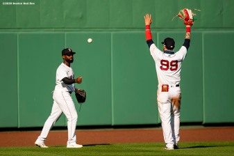 BOSTON, MA - AUGUST 19: Jackie Bradley Jr. #19 and Alex Verdugo #99 of the Boston Red Sox celebrate a victory against the Philadelphia Phillies on August 19, 2020 at Fenway Park in Boston, Massachusetts. The 2020 season had been postponed since March due to the COVID-19 pandemic. (Photo by Billie Weiss/Boston Red Sox/Getty Images) *** Local Caption *** Jackie Bradley Jr.; Alex Verdugo