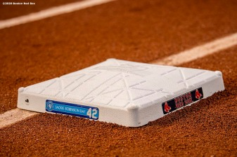 BOSTON, MA - AUGUST 28: A jewell is displayed on the base in recognition of Jackie Robinson day before a game between the Boston Red Sox and the Washington Nationals on August 28, 2020 at Fenway Park in Boston, Massachusetts. The 2020 season had been postponed since March due to the COVID-19 pandemic. (Photo by Billie Weiss/Boston Red Sox/Getty Images) *** Local Caption ***
